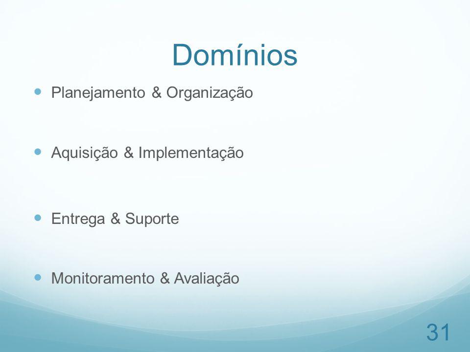 Domínios Planejamento & Organização Aquisição & Implementação Entrega & Suporte Monitoramento & Avaliação 31