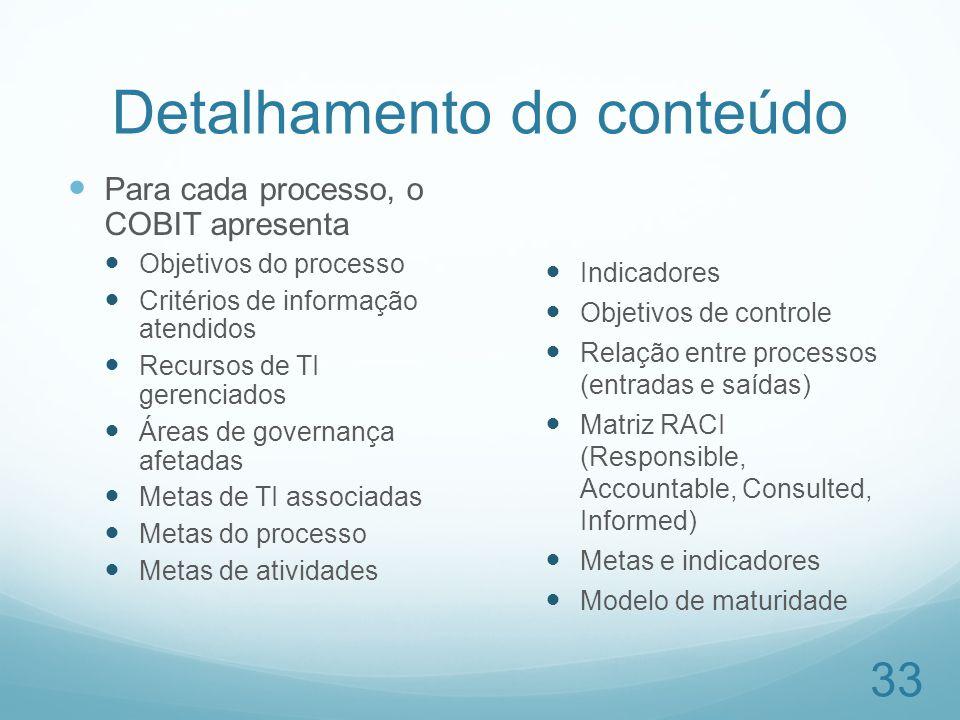 Detalhamento do conteúdo Para cada processo, o COBIT apresenta Objetivos do processo Critérios de informação atendidos Recursos de TI gerenciados Área