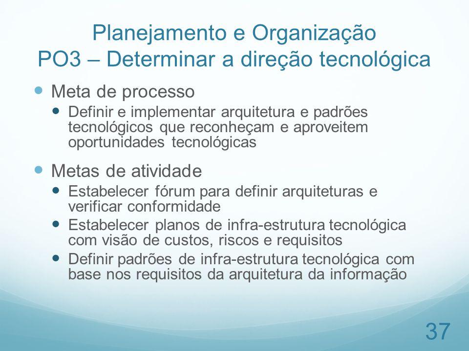 Planejamento e Organização PO3 – Determinar a direção tecnológica Meta de processo Definir e implementar arquitetura e padrões tecnológicos que reconh