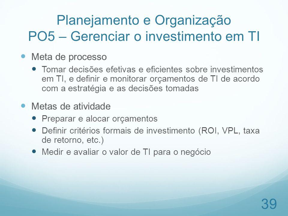 Planejamento e Organização PO5 – Gerenciar o investimento em TI Meta de processo Tomar decisões efetivas e eficientes sobre investimentos em TI, e def
