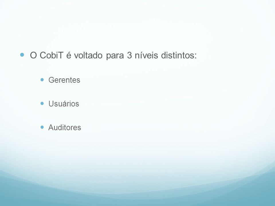O CobiT é voltado para 3 níveis distintos: Gerentes Usuários Auditores