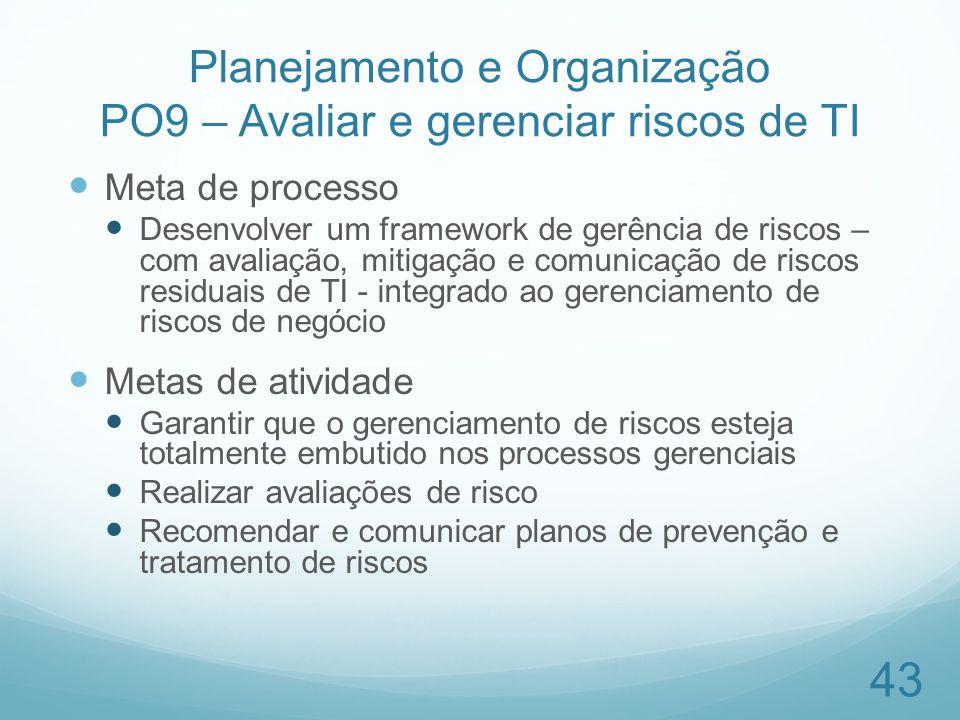 Planejamento e Organização PO9 – Avaliar e gerenciar riscos de TI Meta de processo Desenvolver um framework de gerência de riscos – com avaliação, mit