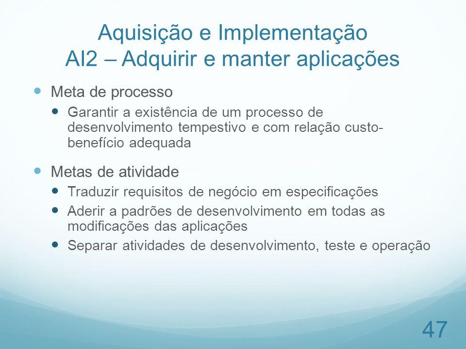 Aquisição e Implementação AI2 – Adquirir e manter aplicações Meta de processo Garantir a existência de um processo de desenvolvimento tempestivo e com