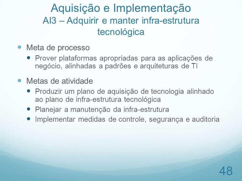 Aquisição e Implementação AI3 – Adquirir e manter infra-estrutura tecnológica Meta de processo Prover plataformas apropriadas para as aplicações de ne