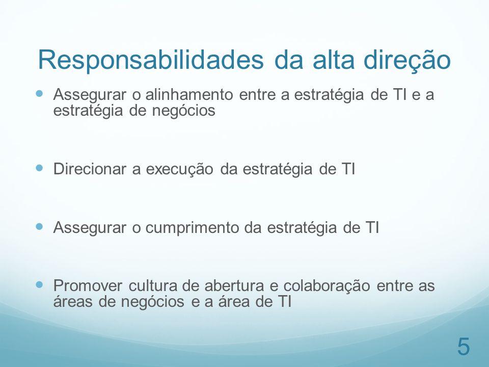 Responsabilidades da alta direção Assegurar o alinhamento entre a estratégia de TI e a estratégia de negócios Direcionar a execução da estratégia de T