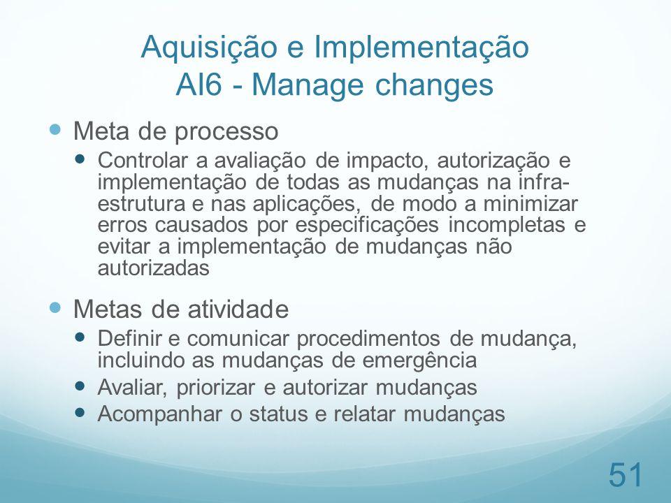 Aquisição e Implementação AI6 - Manage changes Meta de processo Controlar a avaliação de impacto, autorização e implementação de todas as mudanças na