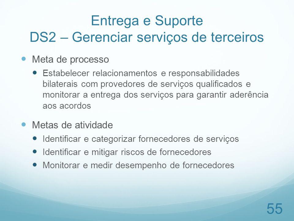 Entrega e Suporte DS2 – Gerenciar serviços de terceiros Meta de processo Estabelecer relacionamentos e responsabilidades bilaterais com provedores de