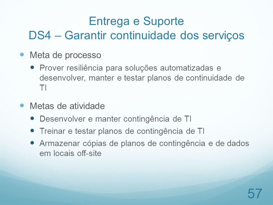 Entrega e Suporte DS4 – Garantir continuidade dos serviços Meta de processo Prover resiliência para soluções automatizadas e desenvolver, manter e tes