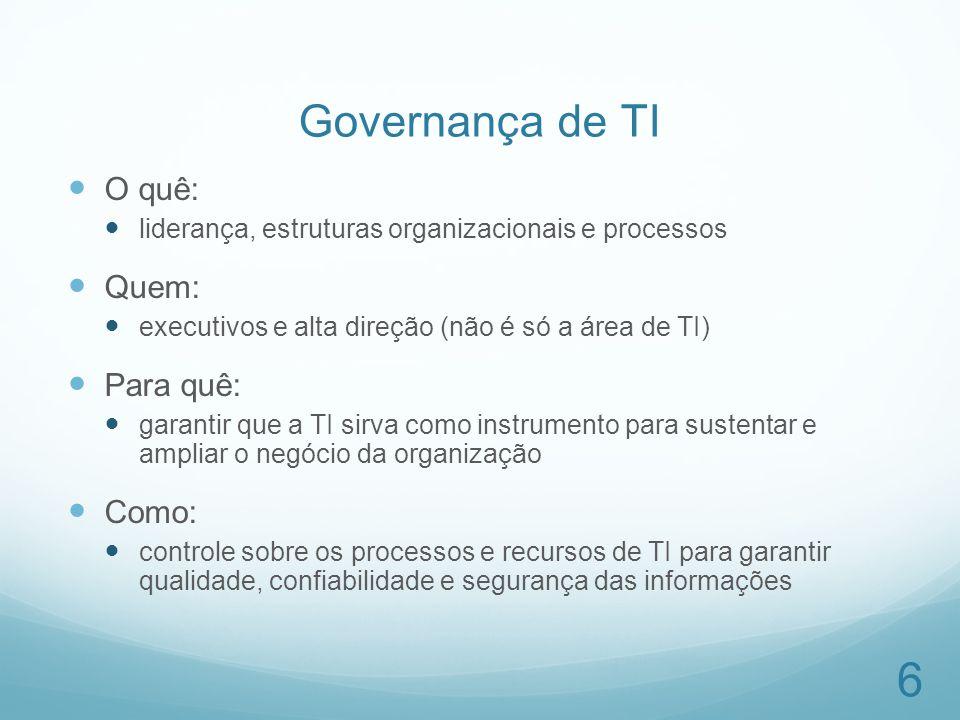 Governança de TI O quê: liderança, estruturas organizacionais e processos Quem: executivos e alta direção (não é só a área de TI) Para quê: garantir q
