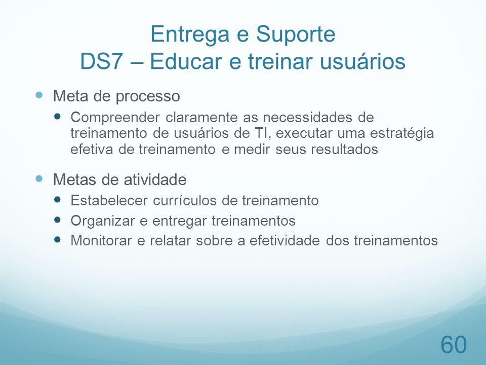 Entrega e Suporte DS7 – Educar e treinar usuários Meta de processo Compreender claramente as necessidades de treinamento de usuários de TI, executar u