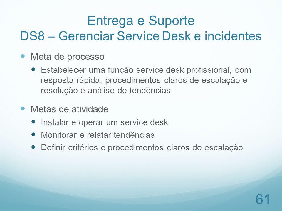 Entrega e Suporte DS8 – Gerenciar Service Desk e incidentes Meta de processo Estabelecer uma função service desk profissional, com resposta rápida, pr