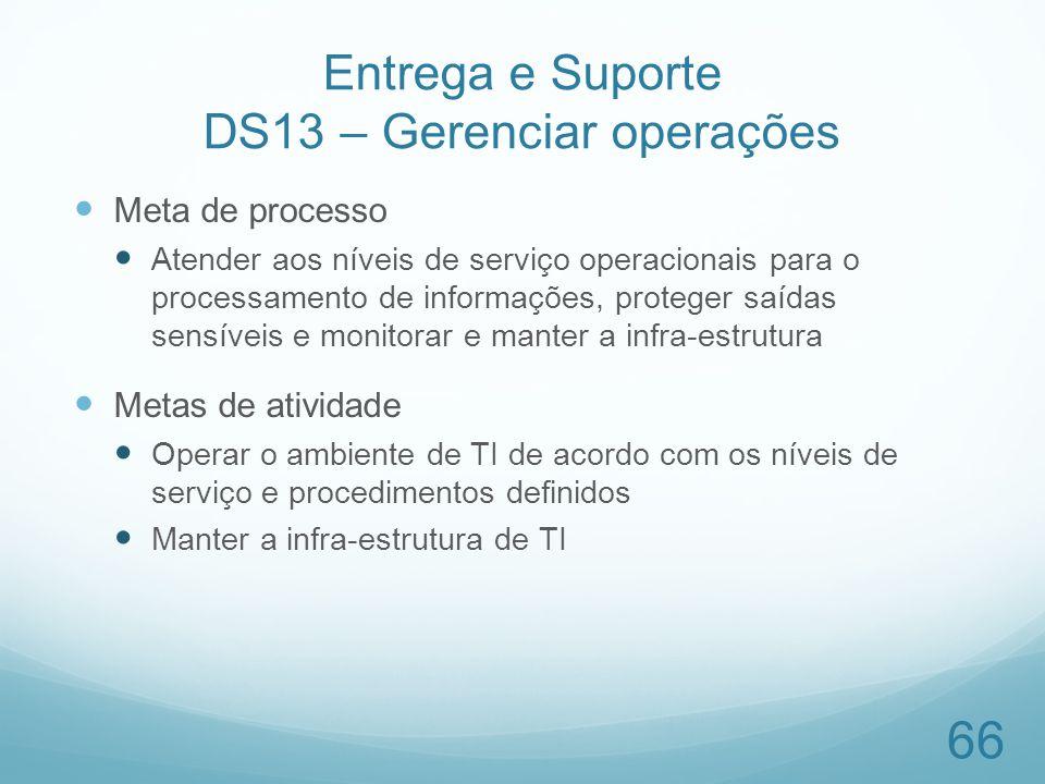 Entrega e Suporte DS13 – Gerenciar operações Meta de processo Atender aos níveis de serviço operacionais para o processamento de informações, proteger