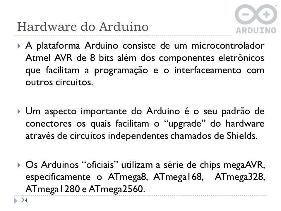 Hardware do Arduino A plataforma Arduino consiste de um microcontrolador Atmel AVR de 8 bits além dos componentes eletrônicos que facilitam a programa