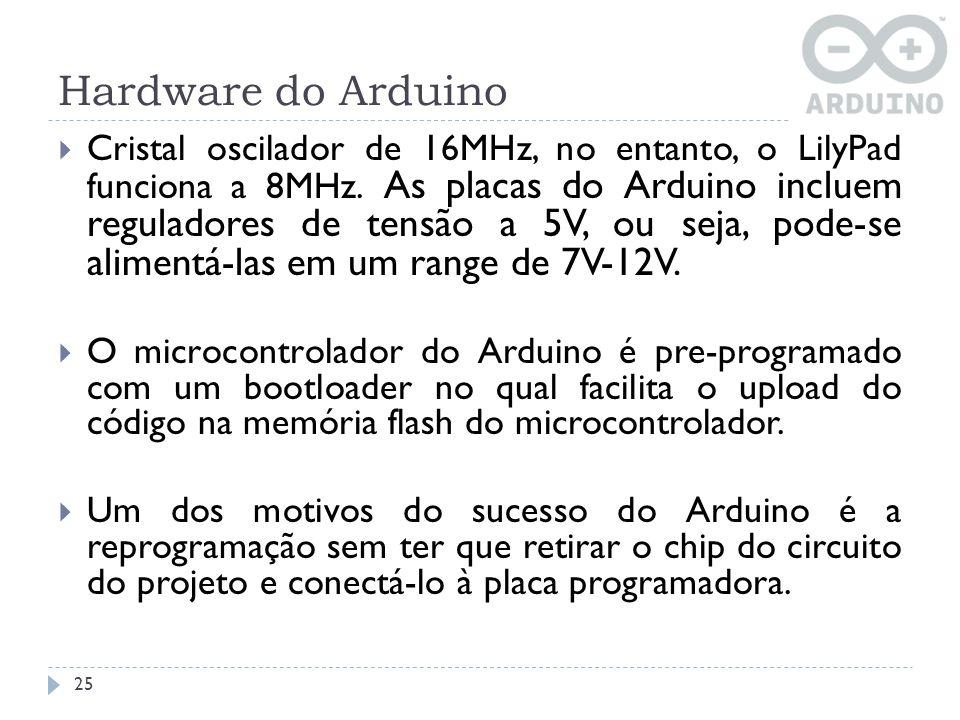 Hardware do Arduino Cristal oscilador de 16MHz, no entanto, o LilyPad funciona a 8MHz. As placas do Arduino incluem reguladores de tensão a 5V, ou sej