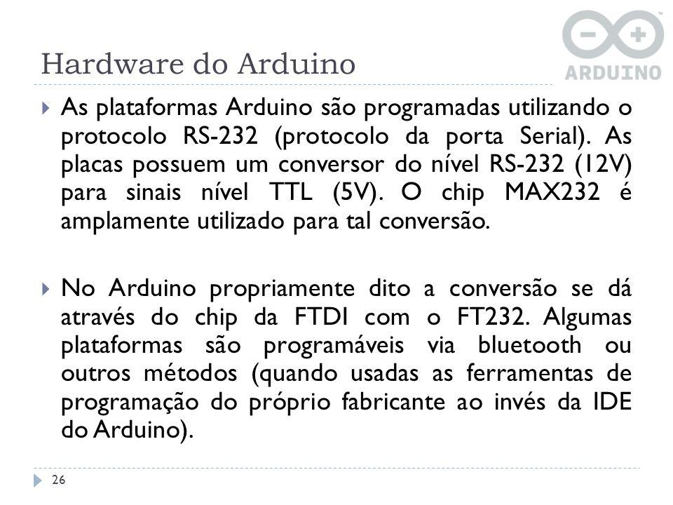 Hardware do Arduino As plataformas Arduino são programadas utilizando o protocolo RS-232 (protocolo da porta Serial). As placas possuem um conversor d