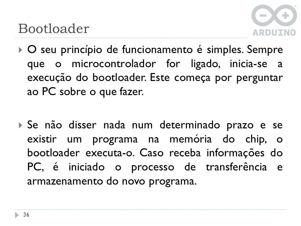 Bootloader 36 O seu princípio de funcionamento é simples. Sempre que o microcontrolador for ligado, inicia-se a execução do bootloader. Este começa po