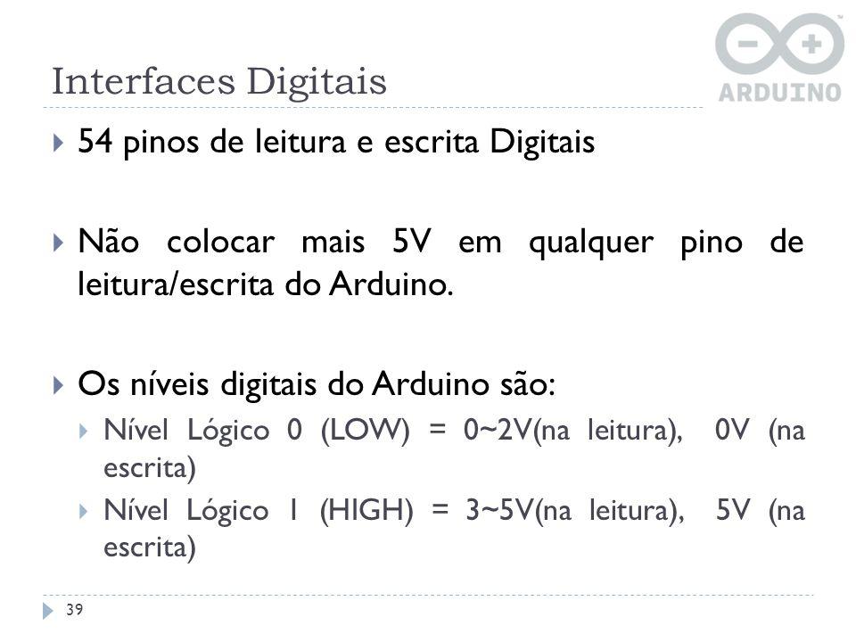 Interfaces Digitais 54 pinos de leitura e escrita Digitais Não colocar mais 5V em qualquer pino de leitura/escrita do Arduino. Os níveis digitais do A