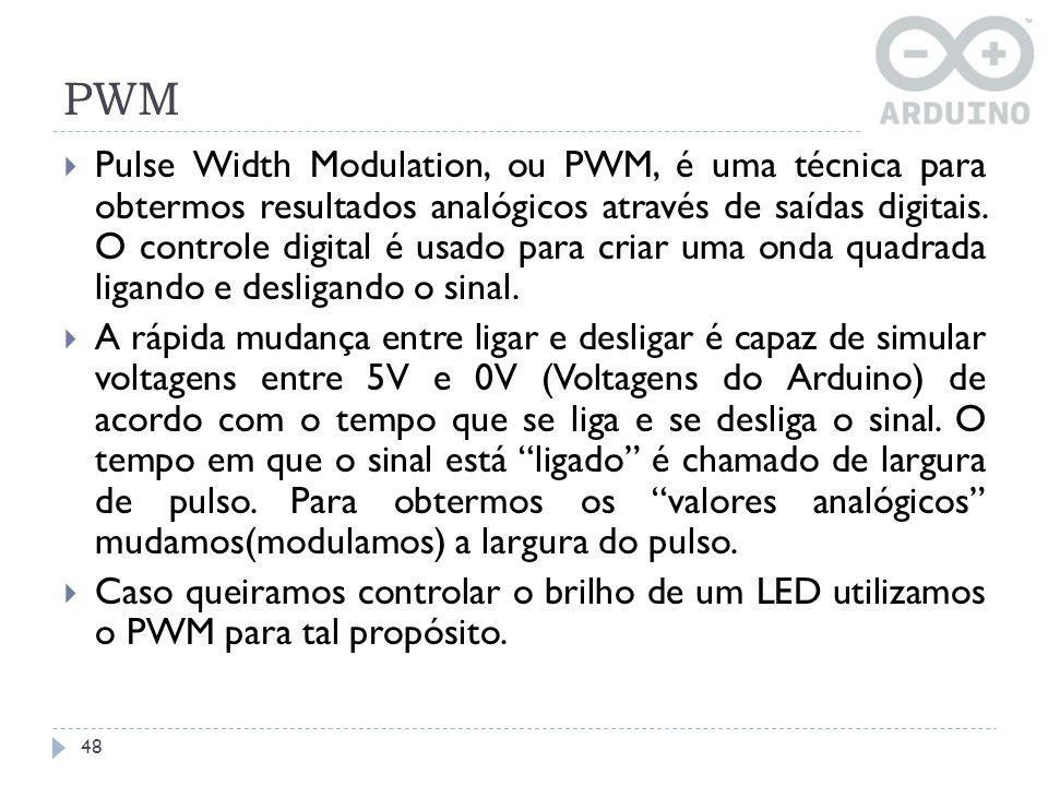 PWM 48 Pulse Width Modulation, ou PWM, é uma técnica para obtermos resultados analógicos através de saídas digitais. O controle digital é usado para c