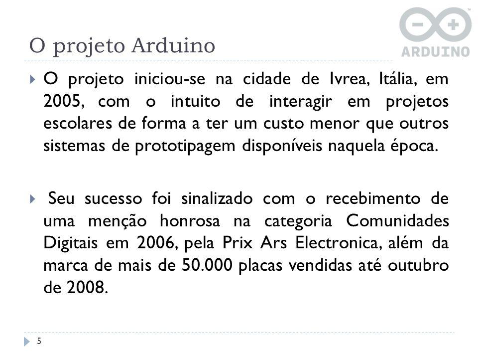 O projeto Arduino O projeto iniciou-se na cidade de Ivrea, Itália, em 2005, com o intuito de interagir em projetos escolares de forma a ter um custo m