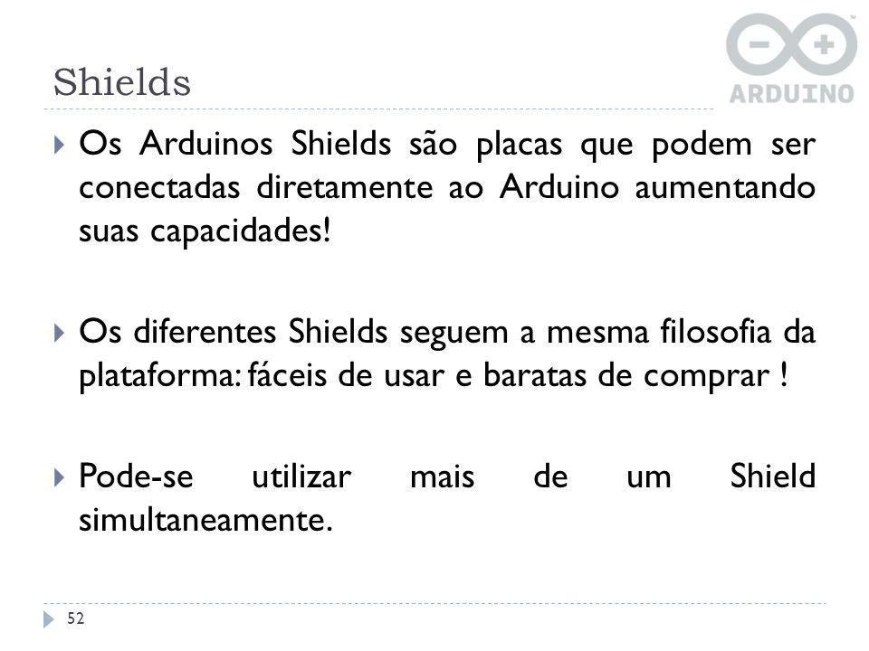 Shields Os Arduinos Shields são placas que podem ser conectadas diretamente ao Arduino aumentando suas capacidades! Os diferentes Shields seguem a mes