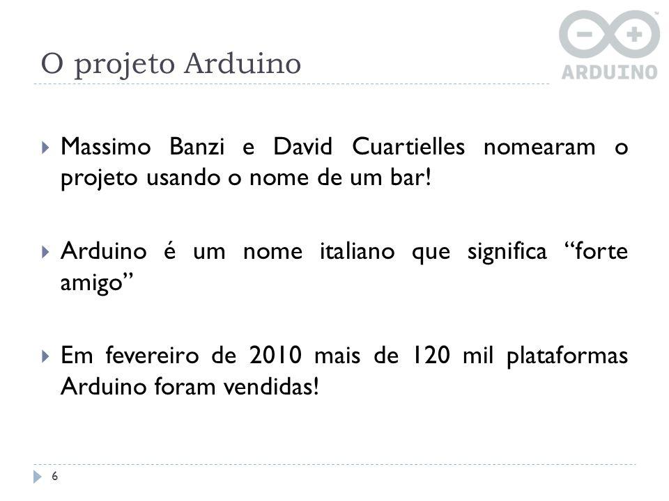 O projeto Arduino 6 Massimo Banzi e David Cuartielles nomearam o projeto usando o nome de um bar! Arduino é um nome italiano que significa forte amigo