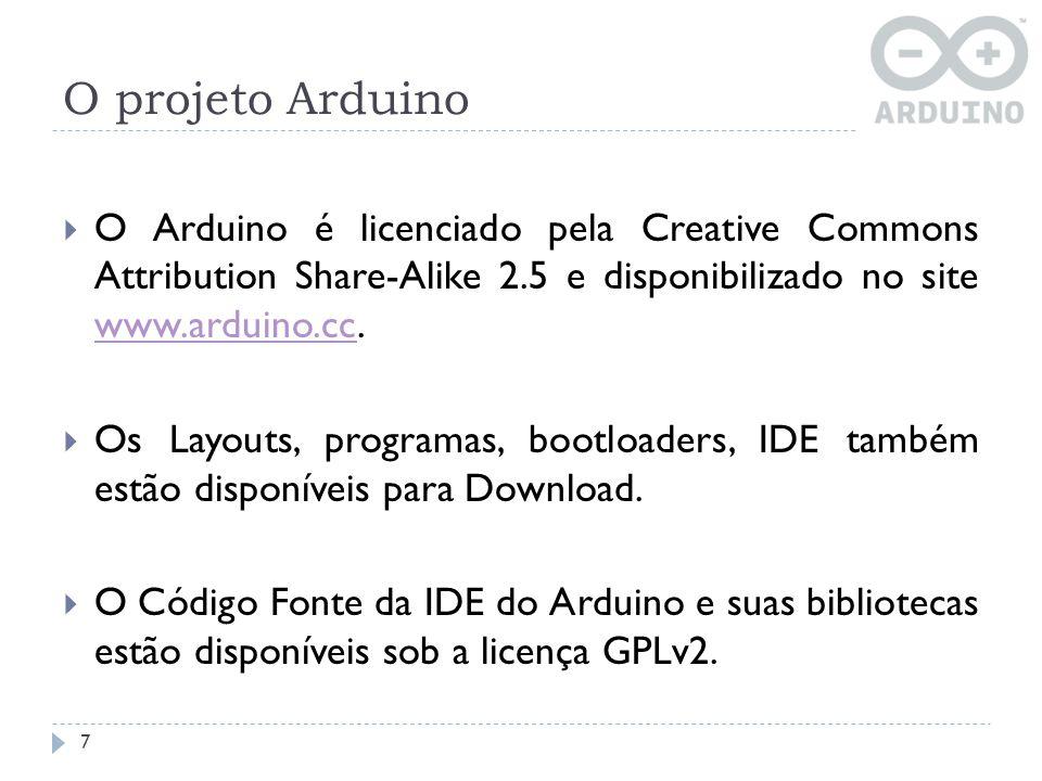 Software do Arduino 18 A IDE do Arduino é uma aplicação cross-platform escrita em Java a qual é derivada da IDE utilizada na programação utilizando Processing e no projeto Wiring que são destinadas à introduzir a programação para artistas e pessoas não familiarizadas com o desenvolvimento de software.