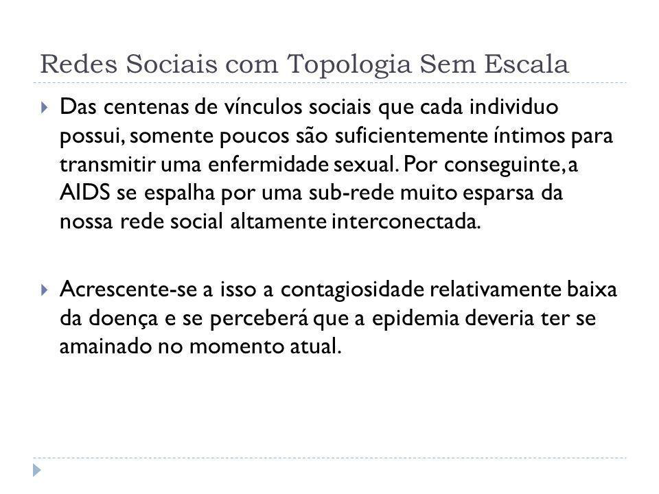 Redes Sociais com Topologia Sem Escala Das centenas de vínculos sociais que cada individuo possui, somente poucos são suficientemente íntimos para tra