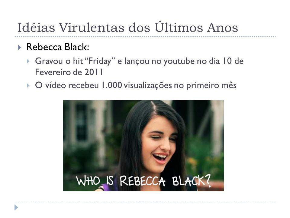 Idéias Virulentas dos Últimos Anos Rebecca Black: Gravou o hit Friday e lançou no youtube no dia 10 de Fevereiro de 2011 O vídeo recebeu 1.000 visuali