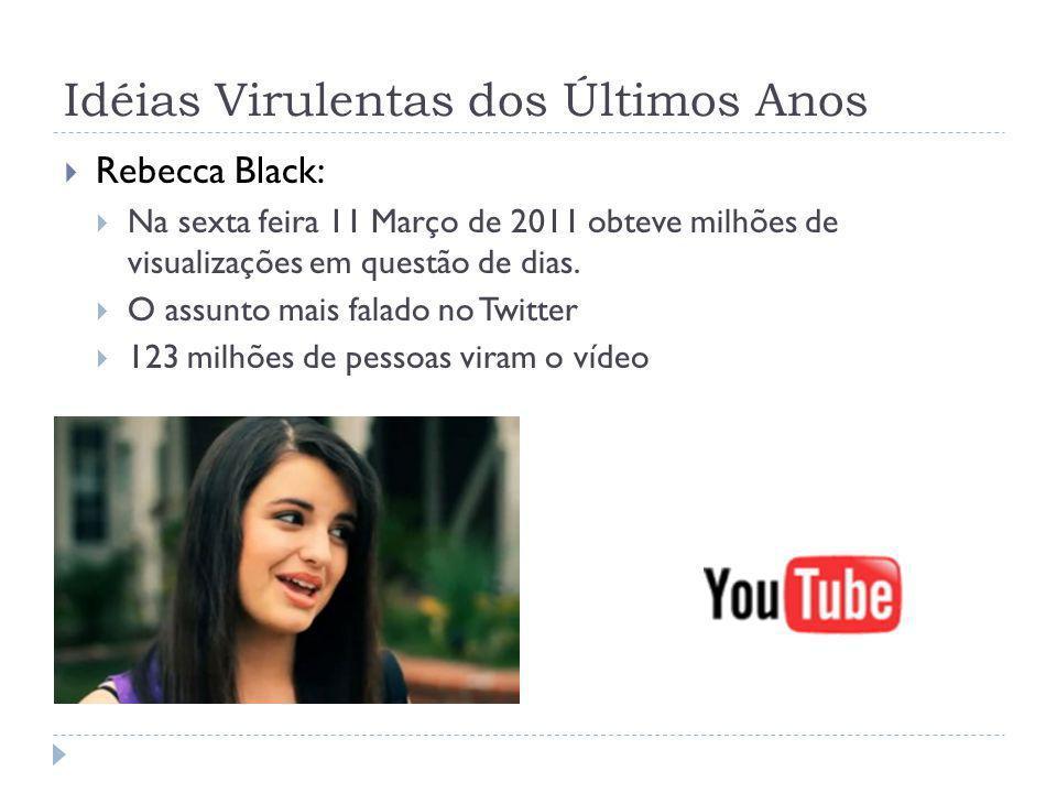 Idéias Virulentas dos Últimos Anos Rebecca Black: Na sexta feira 11 Março de 2011 obteve milhões de visualizações em questão de dias. O assunto mais f