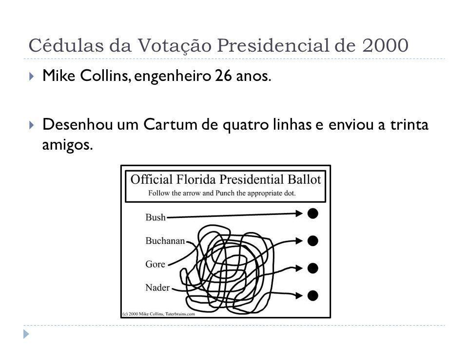 Cédulas da Votação Presidencial de 2000 Mike Collins, engenheiro 26 anos. Desenhou um Cartum de quatro linhas e enviou a trinta amigos.