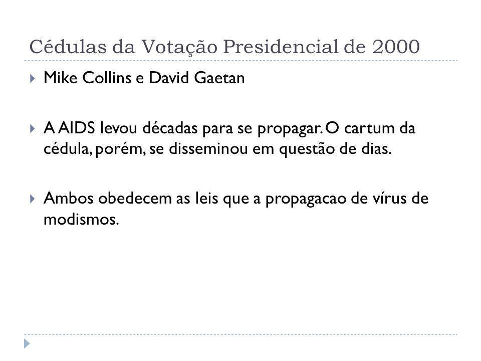 Cédulas da Votação Presidencial de 2000 Mike Collins e David Gaetan A AIDS levou décadas para se propagar. O cartum da cédula, porém, se disseminou em