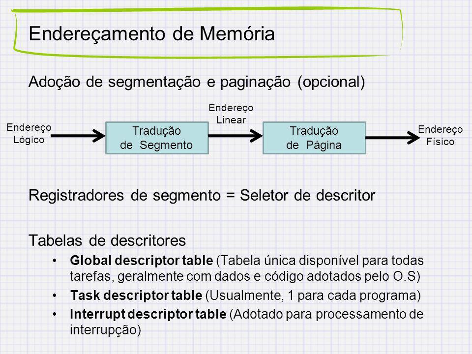Endereçamento de Memória Adoção de segmentação e paginação (opcional) Registradores de segmento = Seletor de descritor Tabelas de descritores Global descriptor table (Tabela única disponível para todas tarefas, geralmente com dados e código adotados pelo O.S) Task descriptor table (Usualmente, 1 para cada programa) Interrupt descriptor table (Adotado para processamento de interrupção) Tradução de Segmento Tradução de Página Endereço Lógico Endereço Linear Endereço Físico
