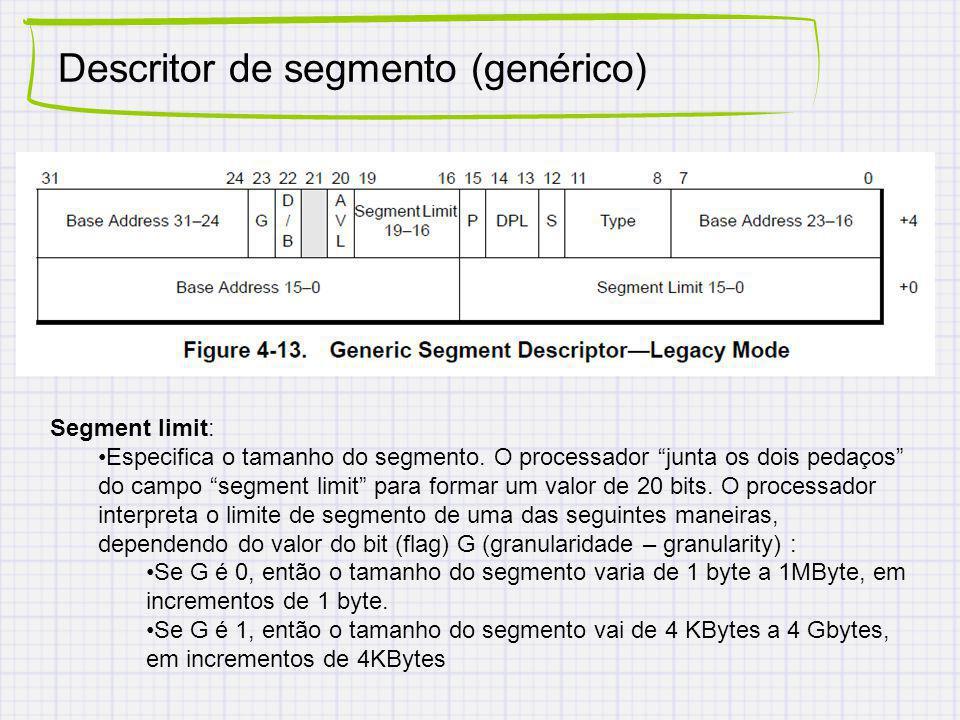 Descritor de segmento (genérico) Segment limit: Especifica o tamanho do segmento. O processador junta os dois pedaços do campo segment limit para form