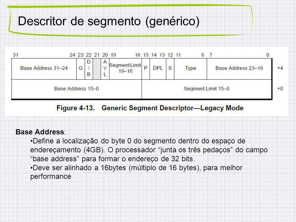 Descritor de segmento (genérico) Base Address: Define a localização do byte 0 do segmento dentro do espaço de endereçamento (4GB). O processador junta