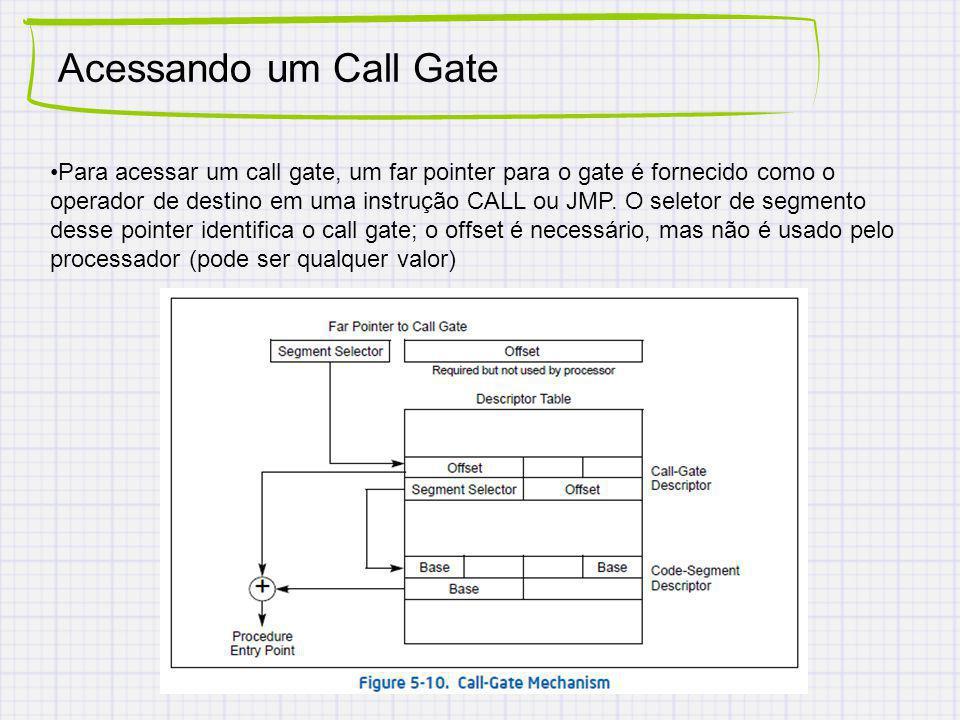 Acessando um Call Gate Para acessar um call gate, um far pointer para o gate é fornecido como o operador de destino em uma instrução CALL ou JMP.