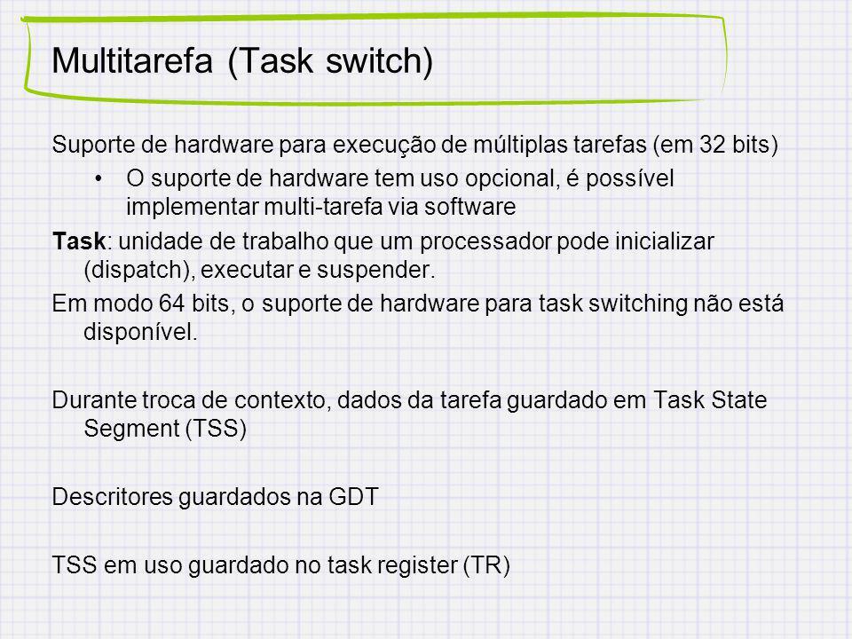 Multitarefa (Task switch) Suporte de hardware para execução de múltiplas tarefas (em 32 bits) O suporte de hardware tem uso opcional, é possível implementar multi-tarefa via software Task: unidade de trabalho que um processador pode inicializar (dispatch), executar e suspender.