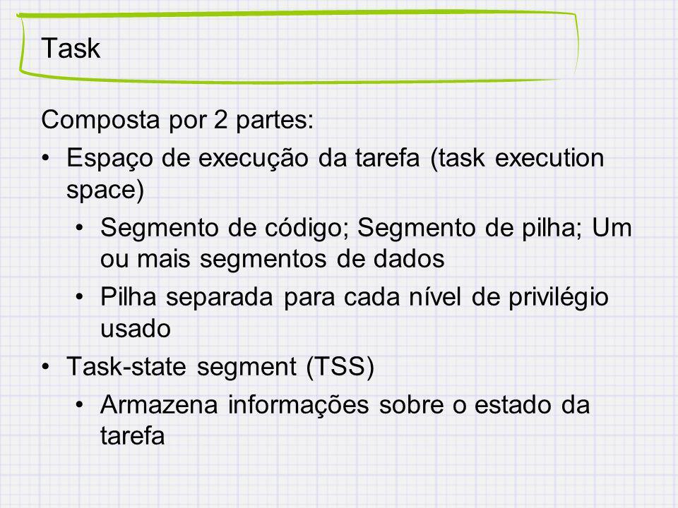 Task Composta por 2 partes: Espaço de execução da tarefa (task execution space) Segmento de código; Segmento de pilha; Um ou mais segmentos de dados Pilha separada para cada nível de privilégio usado Task-state segment (TSS) Armazena informações sobre o estado da tarefa