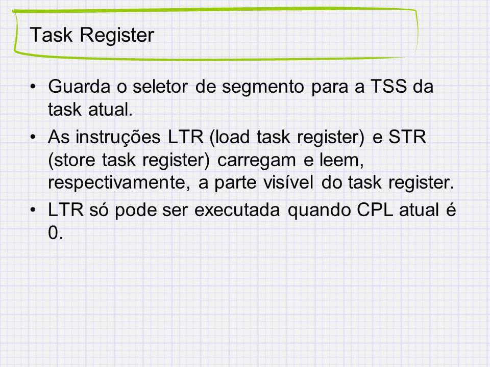 Task Register Guarda o seletor de segmento para a TSS da task atual. As instruções LTR (load task register) e STR (store task register) carregam e lee