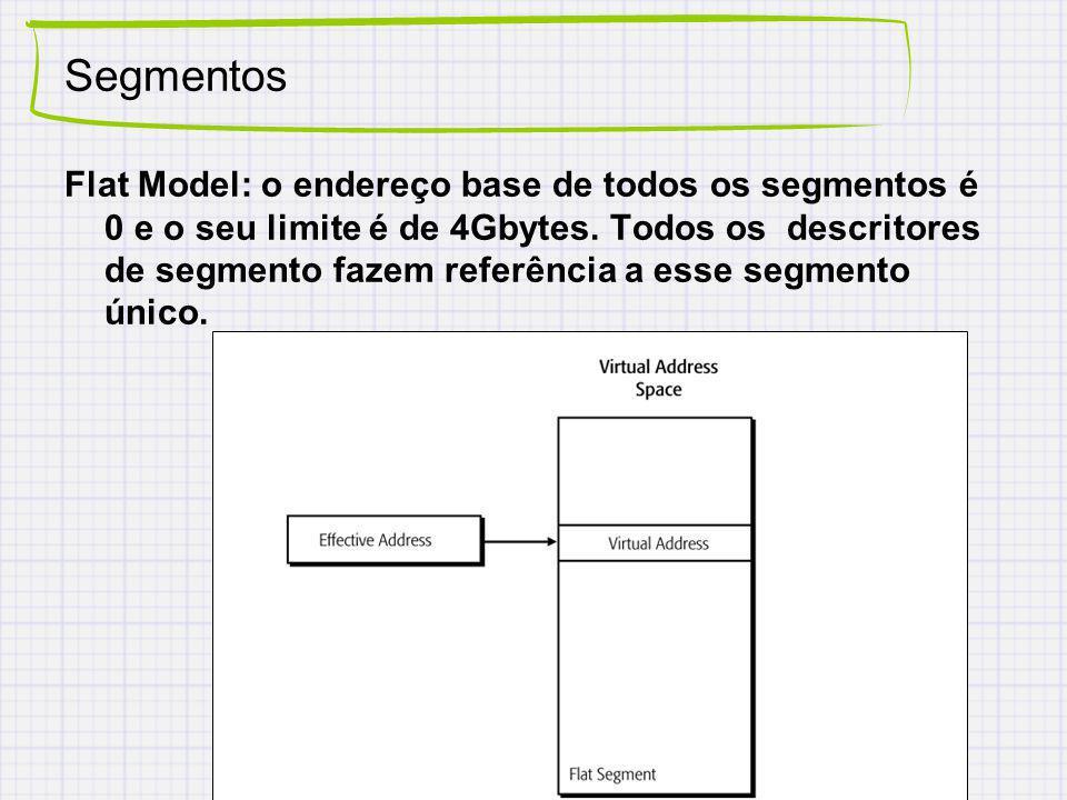 Segmentos Flat Model: o endereço base de todos os segmentos é 0 e o seu limite é de 4Gbytes. Todos os descritores de segmento fazem referência a esse