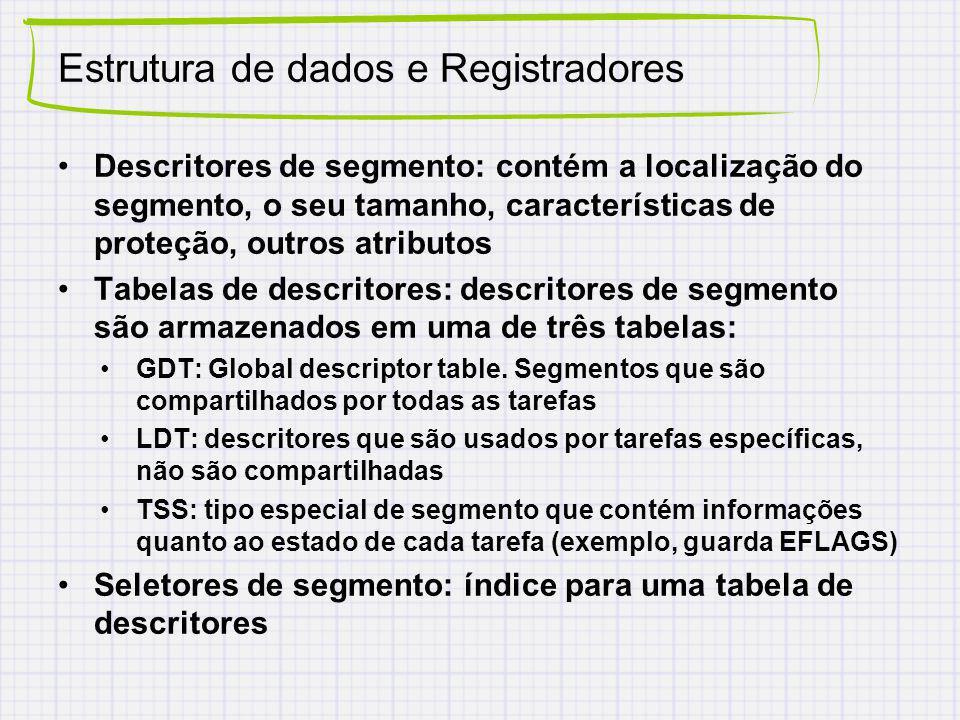 Estrutura de dados e Registradores Descritores de segmento: contém a localização do segmento, o seu tamanho, características de proteção, outros atributos Tabelas de descritores: descritores de segmento são armazenados em uma de três tabelas: GDT: Global descriptor table.