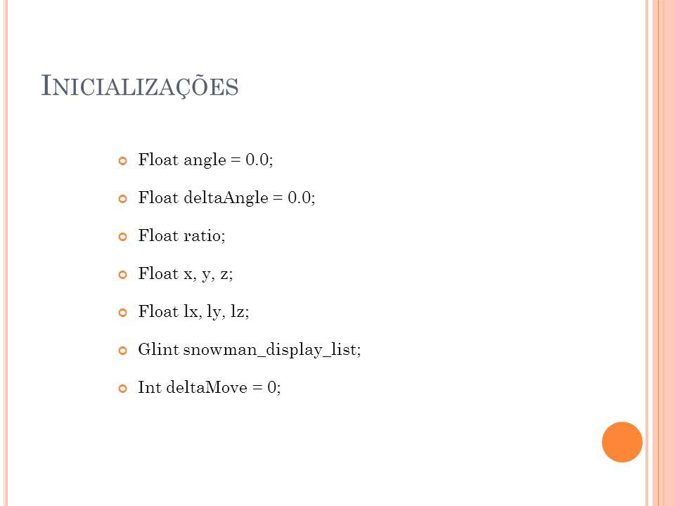 I NICIALIZAÇÕES Float angle = 0.0; Float deltaAngle = 0.0; Float ratio; Float x, y, z; Float lx, ly, lz; Glint snowman_display_list; Int deltaMove = 0