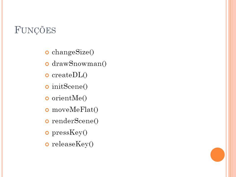 F UNÇÕES changeSize() drawSnowman() createDL() initScene() orientMe() moveMeFlat() renderScene() pressKey() releaseKey()