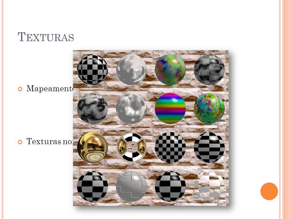 T EXTURAS Mapeamento de Texturas(texture mapping) Texturas normalmente são 2D