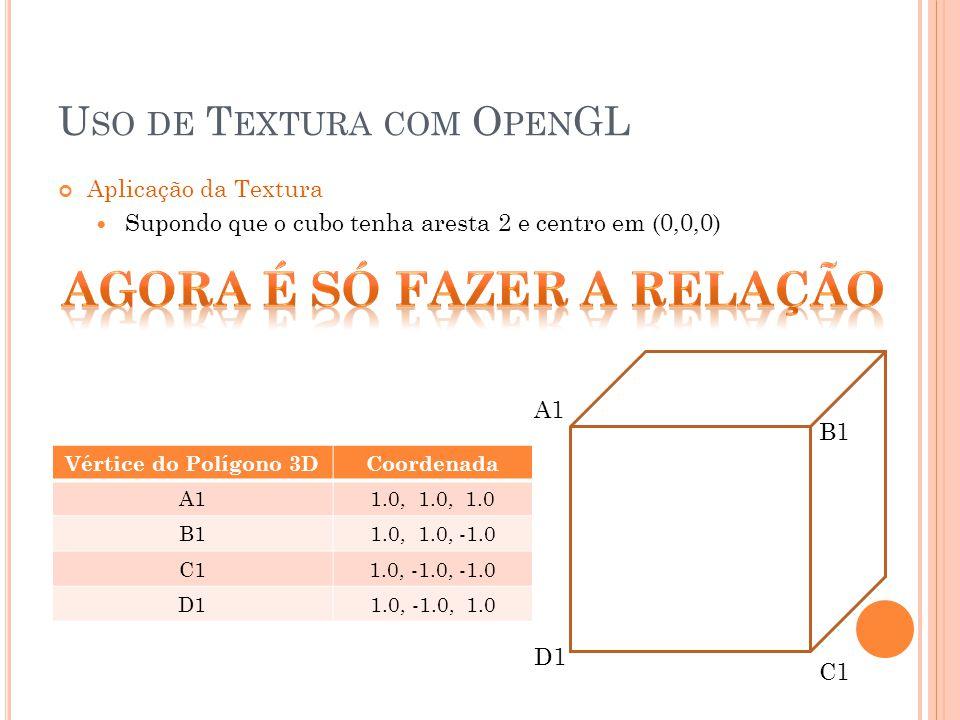 Aplicação da Textura Supondo que o cubo tenha aresta 2 e centro em (0,0,0) A1 B1 D1 C1 Vértice do Polígono 3DCoordenada A11.0, 1.0, 1.0 B11.0, 1.0, -1.0 C11.0, -1.0, -1.0 D11.0, -1.0, 1.0 U SO DE T EXTURA COM O PEN GL
