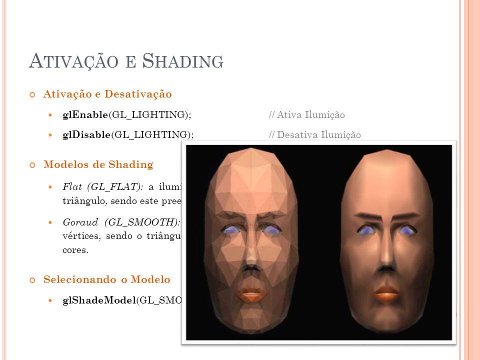 A TIVAÇÃO E S HADING Ativação e Desativação glEnable (GL_LIGHTING);// Ativa Ilumição glDisable (GL_LIGHTING);// Desativa Ilumição Modelos de Shading F