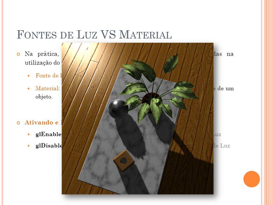 F ONTES DE L UZ VS M ATERIAL Na prática, há duas propriedades que devem ser consideradas na utilização do modelo de iluminação de OpenGL. Fonte de Luz