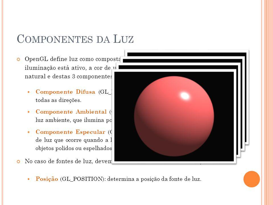C OMPONENTES DA L UZ OpenGL define luz como composta de 3 componentes. Quando o modelo de iluminação está ativo, a cor de um ponto é calculada em funç