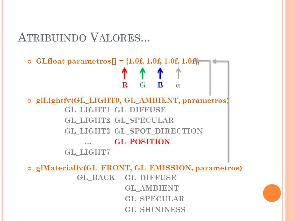 A TRIBUINDO V ALORES... GLfloat parametros[] = {1.0f, 1.0f, 1.0f, 1.0f}; glLightfv(GL_LIGHT0, GL_AMBIENT, parametros) glMaterialfv(GL_FRONT, GL_EMISSI