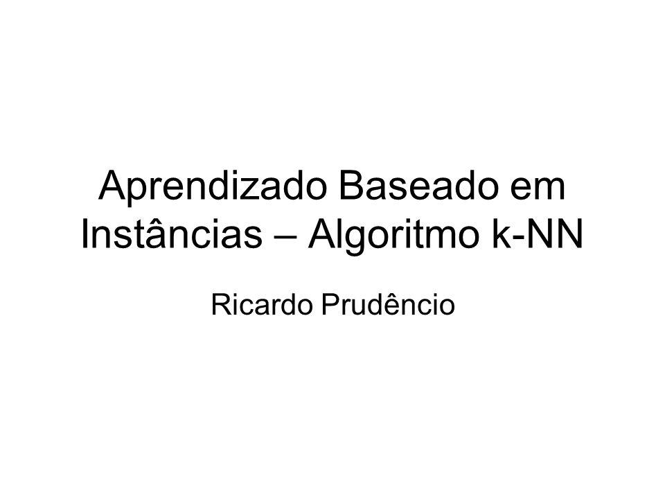 Algoritmo k-NN Distância de Hamming para atributos categóricos: –Soma 1 para cada atributo cujo valor coincide nas instâncias