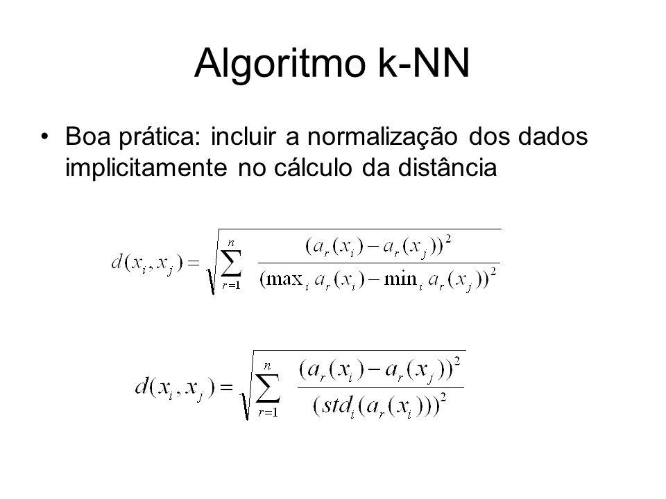 Algoritmo k-NN Boa prática: incluir a normalização dos dados implicitamente no cálculo da distância